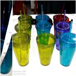 9pcs Colorful ❤non breakable glasses with 8caps & straw