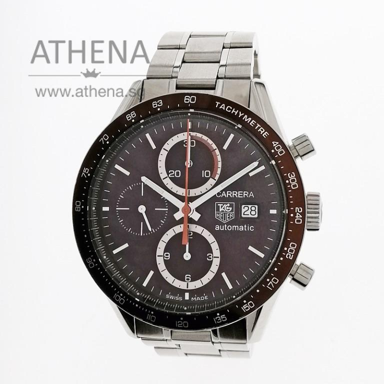 """TAG HEUER CARRERA CHRONOGRAPH AUTOMATIC """"BROWN CHRONOGRAPH DIAL"""" WITH BOX & CERT CV2013-1 PPWTH_028"""