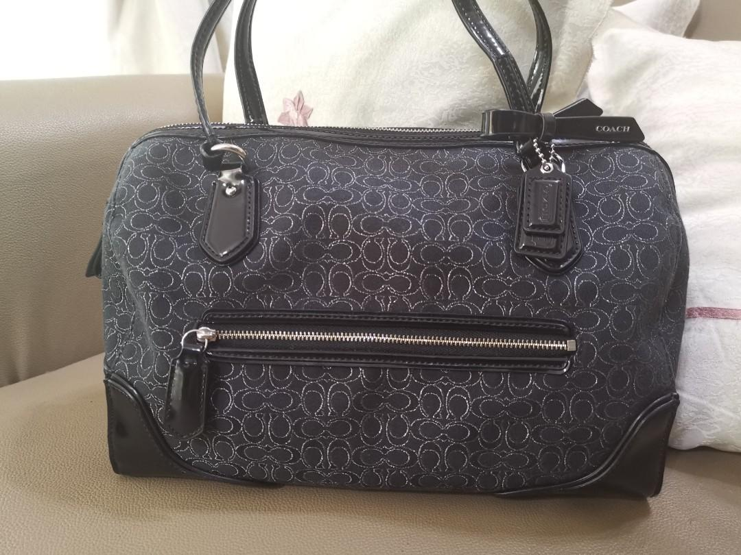 Authentic Coach Poppy East/West Satchel In Signature Mettalic Outline Fabric