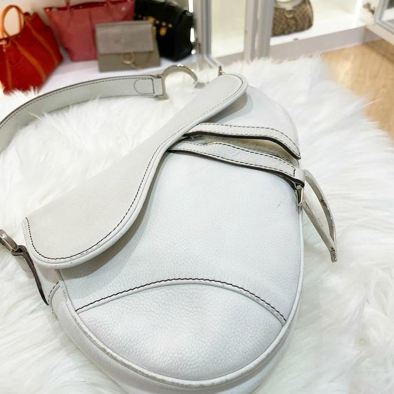 AUTHENTIC DIOR SADDLE BAG - WHITE LEATHER - CONDITION 7/10 - (1ST PHOTO IS EXAMPLE PIC) - (DIOR SADDLE BAGS NOW RETAIL OVER RM 15,000+)