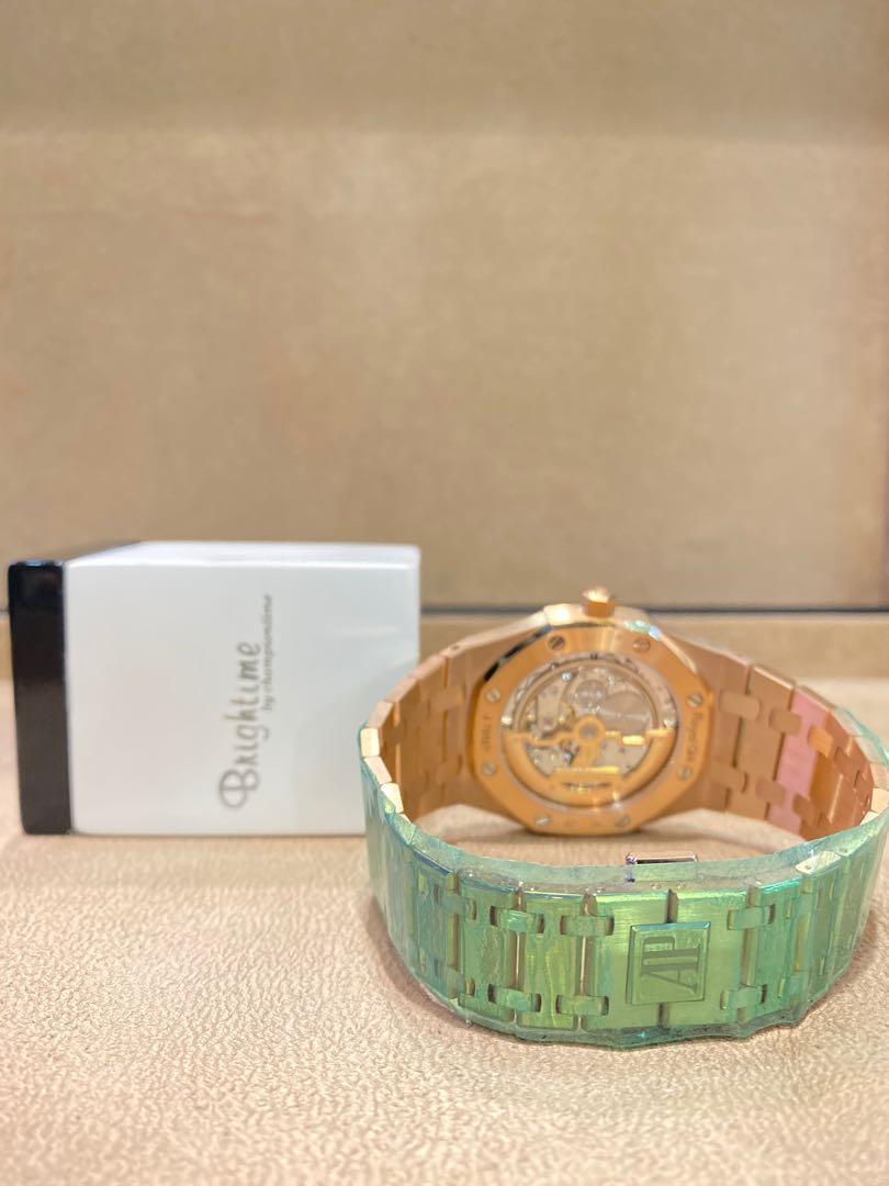 Brand New Audemars Piguet Royal Oak 15202OR Blue Dial Automatic Everose Rose Gold Casing Bracelet
