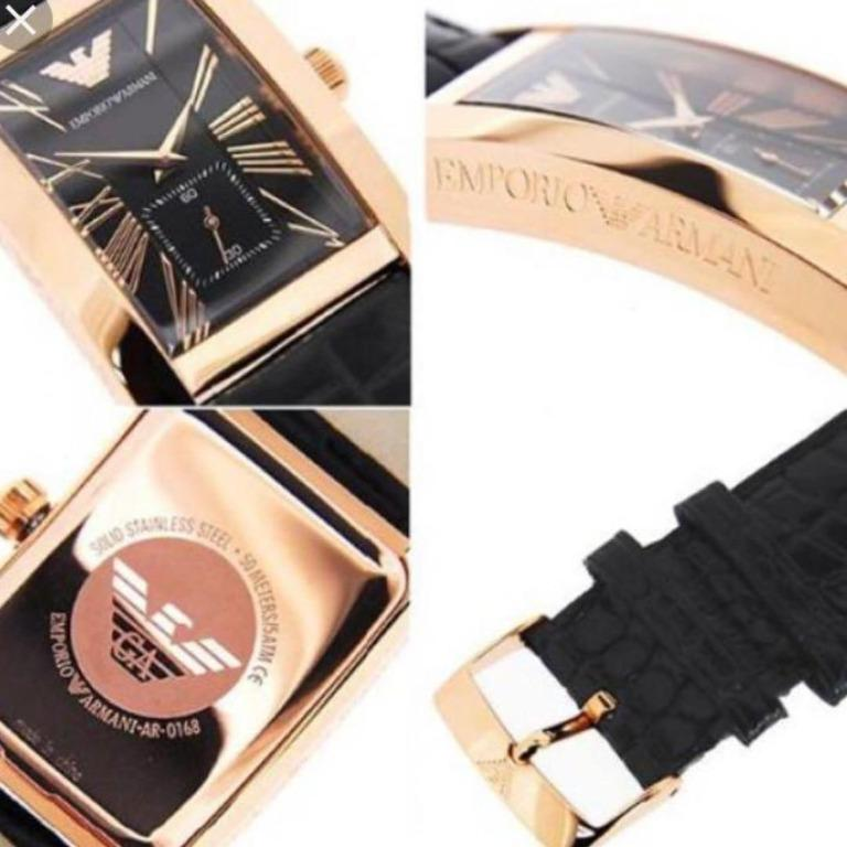 Brand New Emporio Armani Classic (AR0169) Analog Rose Gold Dial Black Leather Strap Ladies Wrist Watch
