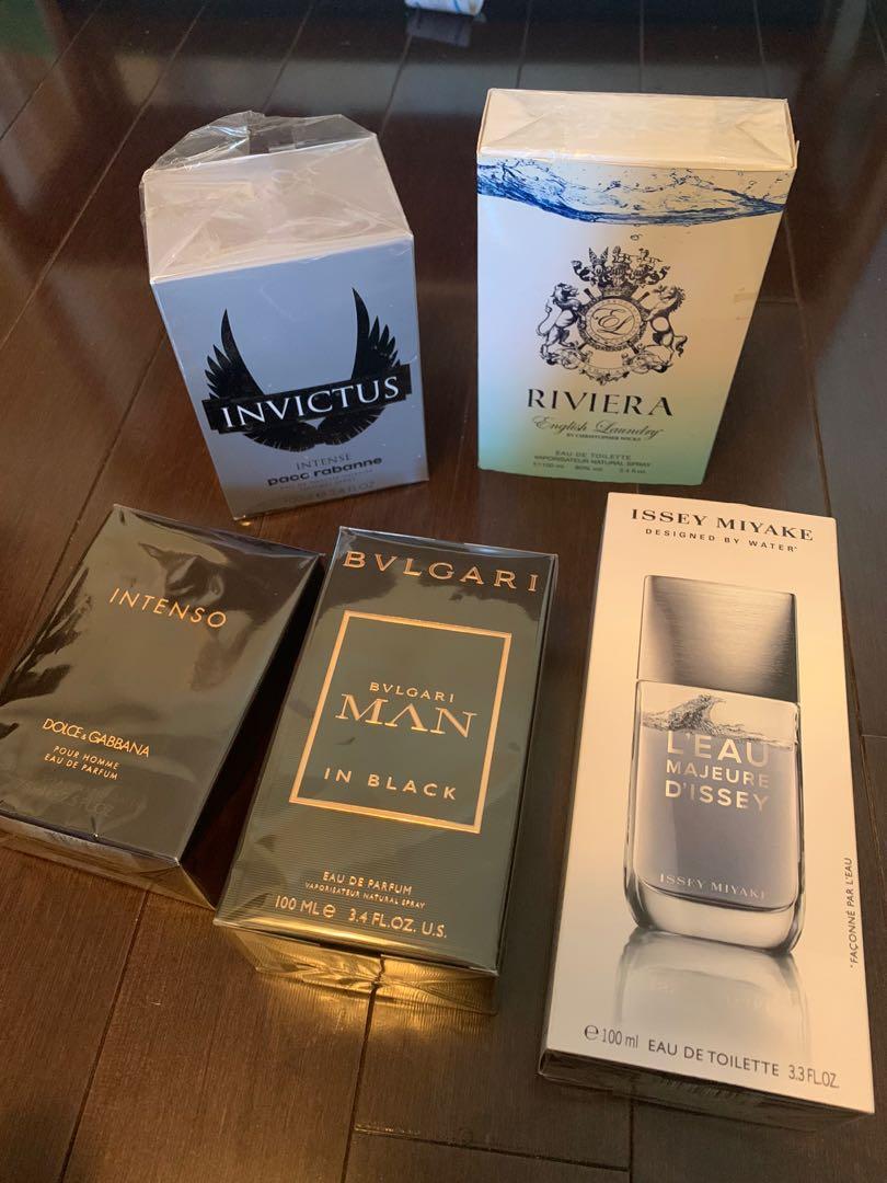Choice of designer perfume fragrances for men 100ml each