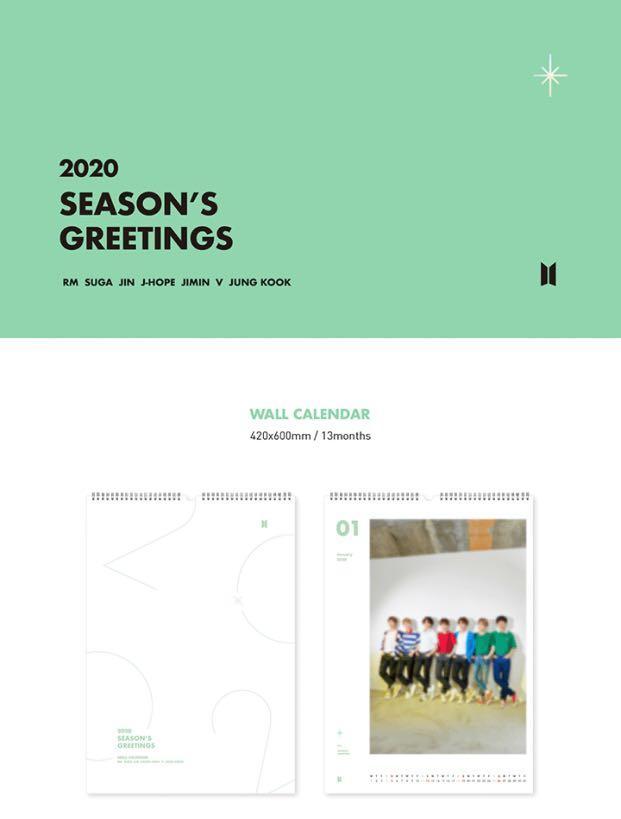 [GROUP ORDER] BTS 2020 SEASON'S GREETINGS - WALL CALENDAR