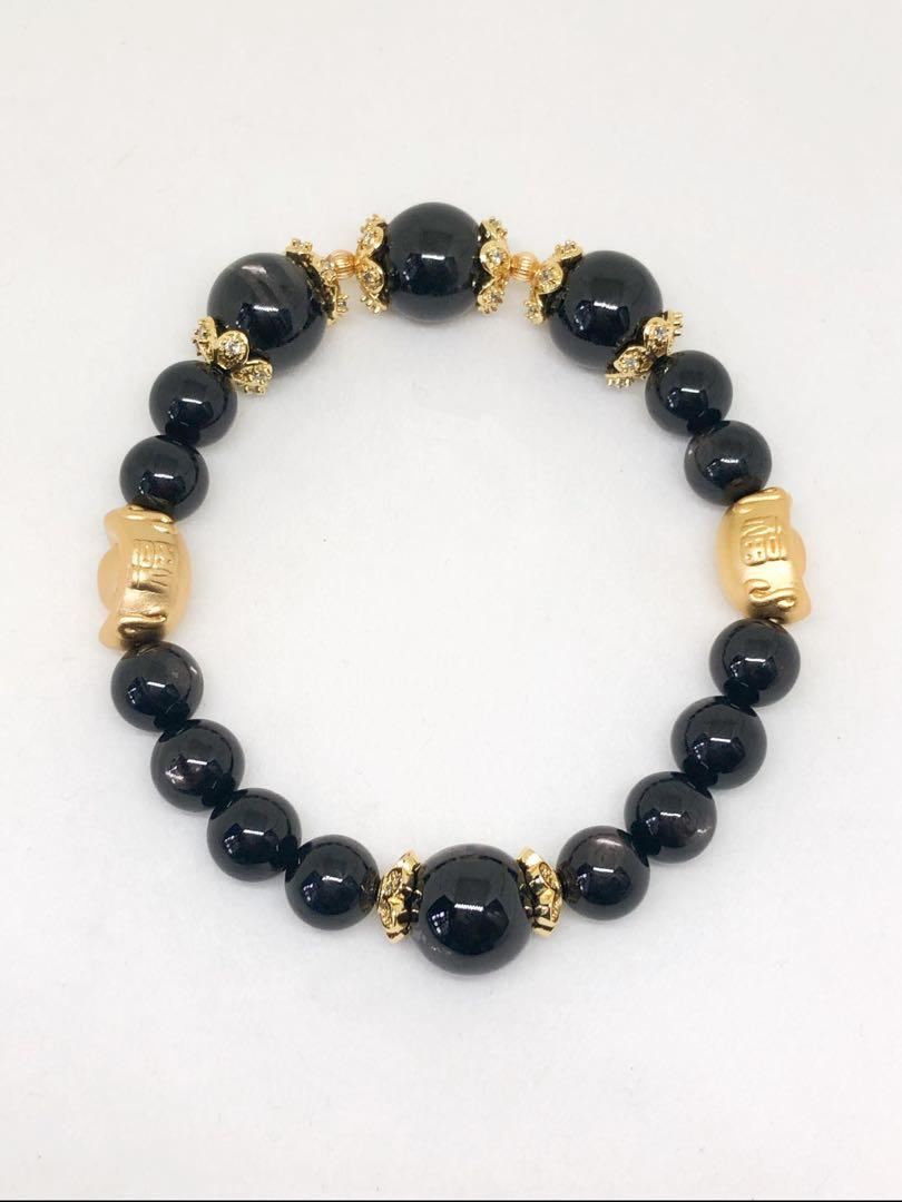 Hypersthene with Ingots and Gold vacuum coated cap spacers Bracelet. For pyschic protection & development of clairvoyence, clairaudience hypersthene