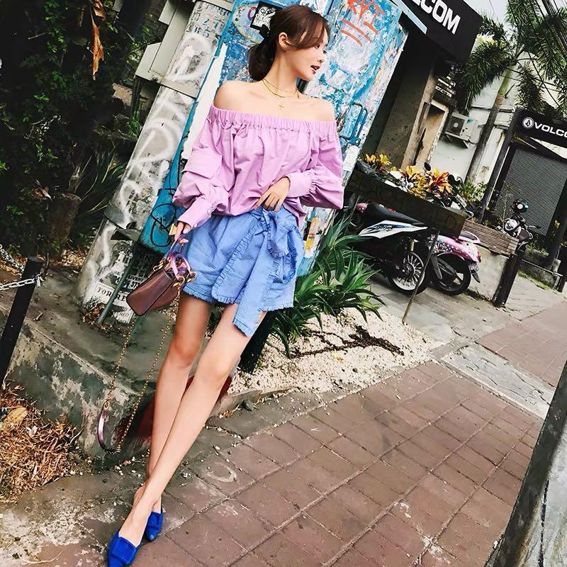 Korea fashion ballooned sleeve off-shoulder blouse top