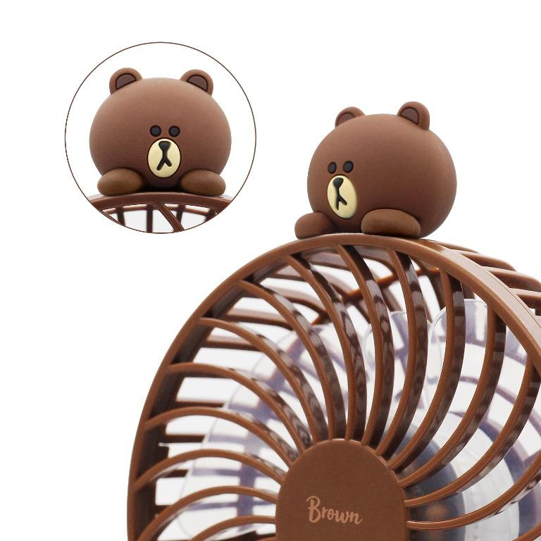 Line Friends 熊大 brown 手提 風扇 + 尿袋 行動電源 2600 mAh