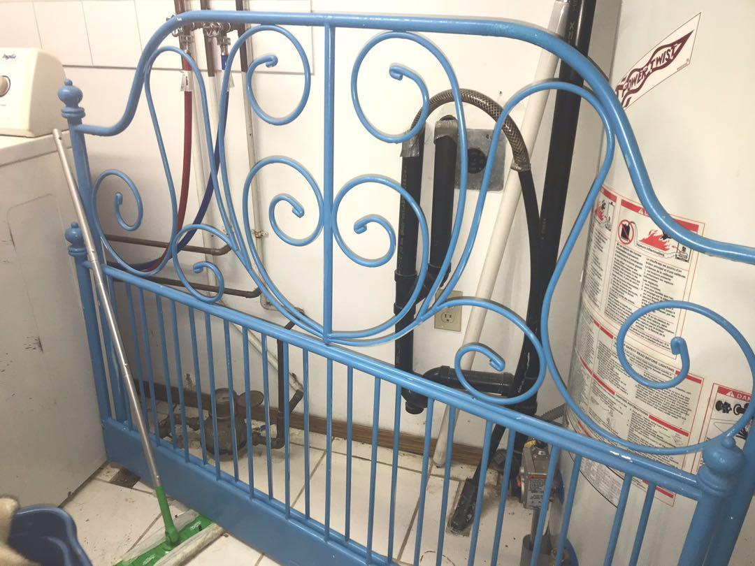 Metal bed frame. DOUBLE size, Headboard & footboard baby blue.