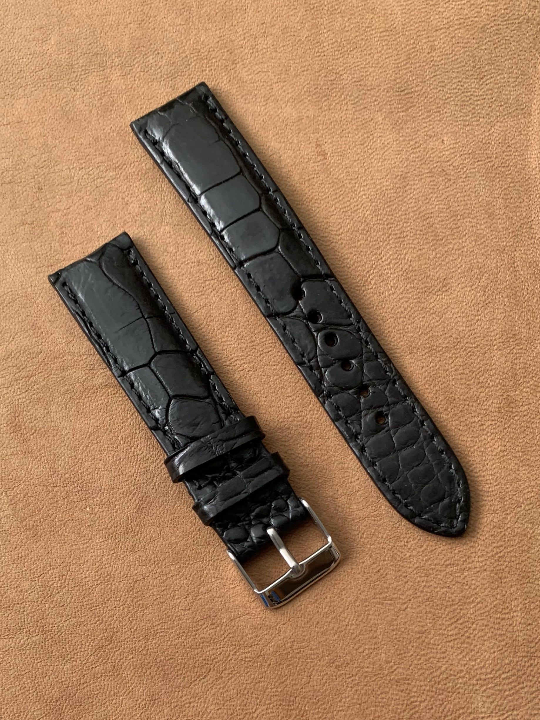 20mm/18mm Black Crocodile 🐊 Alligator Watch Strap  (multi-tiled scales - one of a kind 👍🏻😊, once sold no more) Standard Length- L:120mm S:75mm