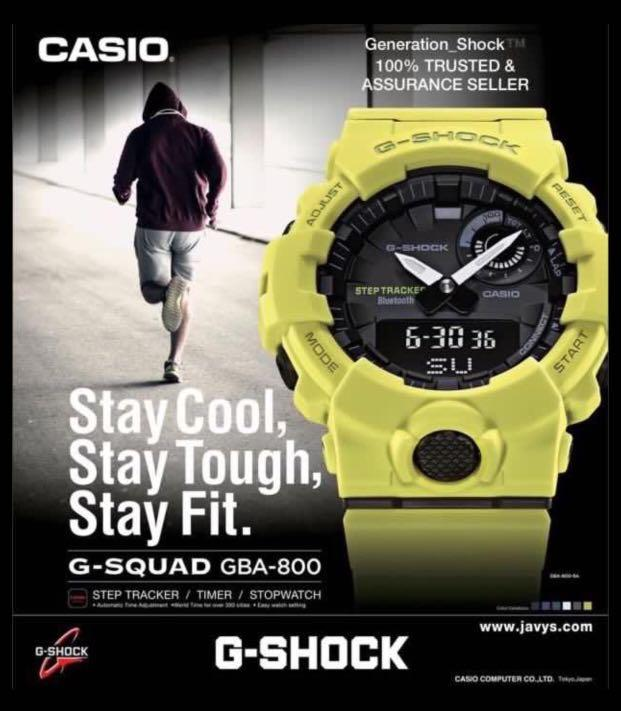GSHOCK🌟BLUETOOTH : NEW UNISEX DIVER SPORTS WATCH : 100% ORIGINAL AUTHENTIC  CASIO G-SHOCK : GBA-800-9A (LEMON-LIME)