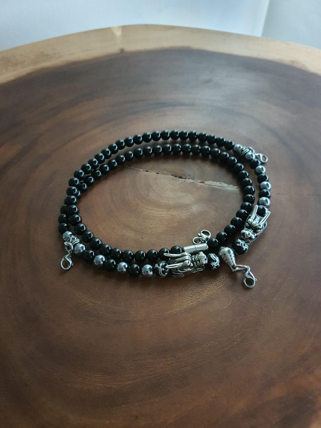 Nice Quality Black Onyx ,Terahertz with Stainless Steel Dragon Heads (No Fade) 4 Hooks Necklace (Dragon Series)
