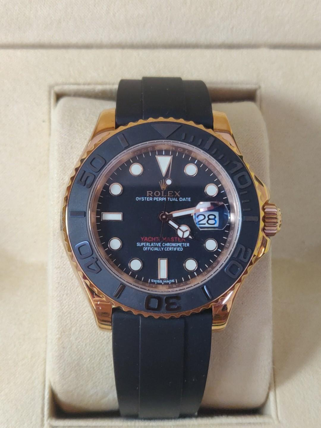 Noob Factory Rolex Yacht-Master 40 116655 Rose Gold Black Dial Swiss 3135