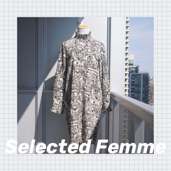 NWT SELECTED FEMME City Print Midi Shirt Dress Size 36 (Small)