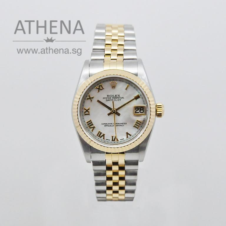 """ROLEX """"HALF-GOLD"""" MID-SIZE OYSTER PERPETUAL DATEJUST """"Y"""" SERIES """"WHITE MOP ROMAN DIAL"""" 78273 JWWRL_981"""