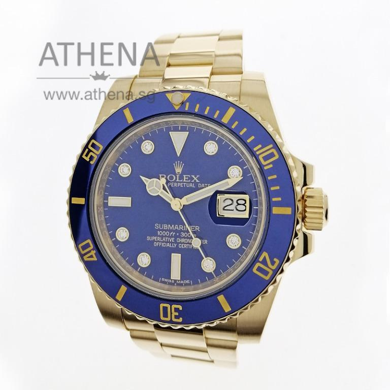 """ROLEX SPORT 18K YELLOW GOLD ROLEX OYSTER PERPETUAL DATE SUBMARINER CERAMIC """"V"""" SERIES """"BLUE DIAMOND DIAL"""" WITH RSC PAPER 116618LB JWWRL_1410"""