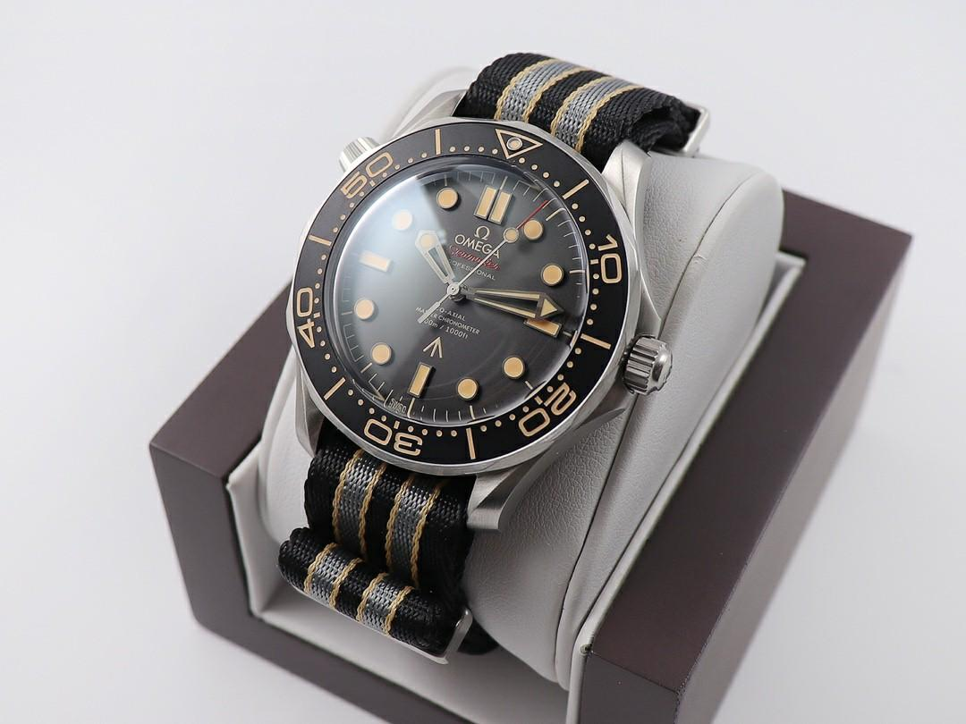"""VS Factory Omega Seamaster Diver 300M James Bond 007 """"No Time To Die"""" SS Black Dial Swiss 8806 (Free Strap)"""