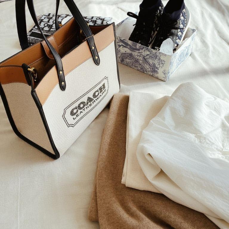 20SS New COACH Gallop Canvas Carriage Carry Bag Women Bag Shopping Bag Canvas Tote Bag Logo Shopping Bag Canvas Bag Super Large Capacity Women Bag