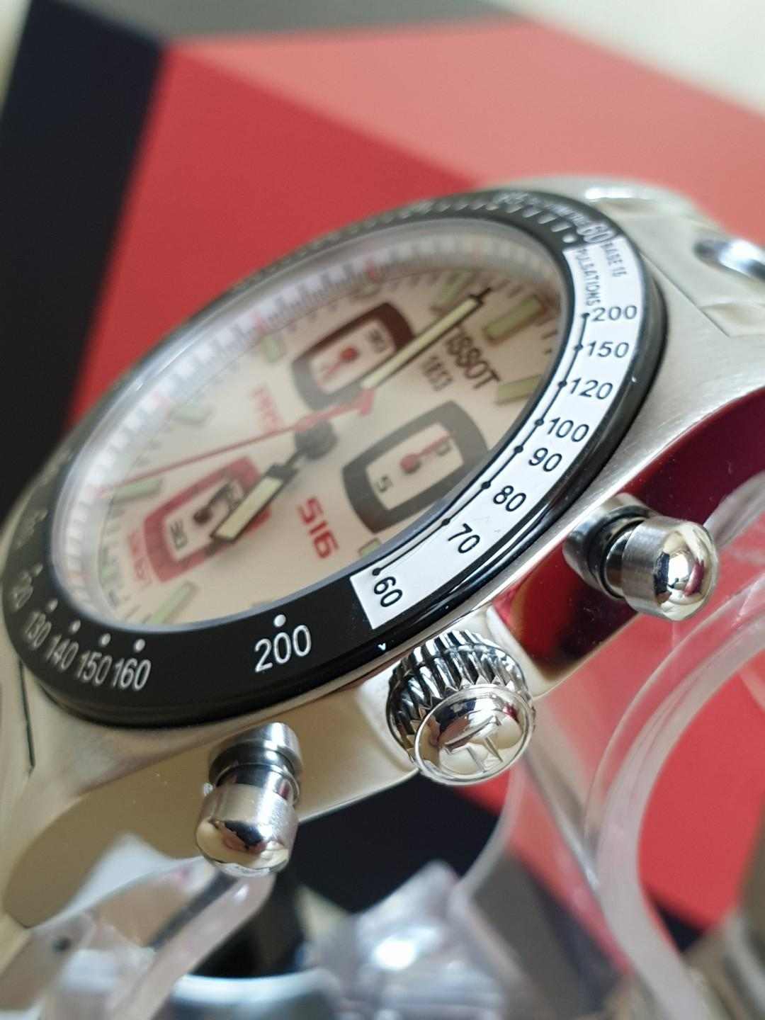Extremely Rare TISSOT PRS516 Chronograph Limited Edition Square Red/Blue Sub-Dials T-Racing Stainless Steel Band