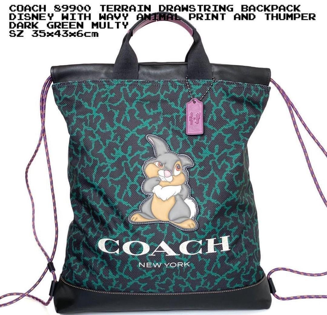 Coach Terrain Drawstring Backpack Disney with Wavy Animal Print And Thumper Dark Green Multi 35×43×6