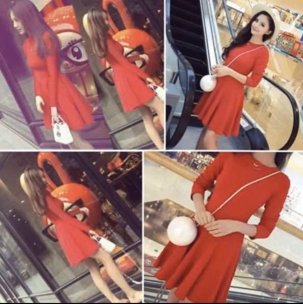 Gorgeous Korean Fashion Slim Fit Stretch Elasticity Elegance Temperament Long-Sleeve Soft Pleated Dress Princess Dress