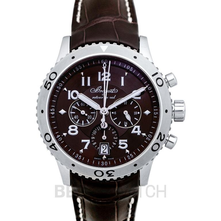 [NEW] Breguet BREGUET Transatlantique Type XXI Flyback Automatic Ruthenium Dial Black Leather Men's Watch/42.5mm 3810ST/92/9ZU