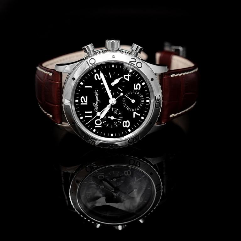 [NEW] Breguet BREGUET Type XX Aeronavale Automatic Chronograph Black Dial Brown Leather Men's Watch/39.5mm 3800ST/92/9W6