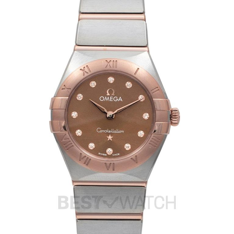 [NEW] Omega Constellation Manhattan Quartz 25 mm Quartz Brown Dial Diamonds Gold Ladies Watch 131.20.25.60.63.001