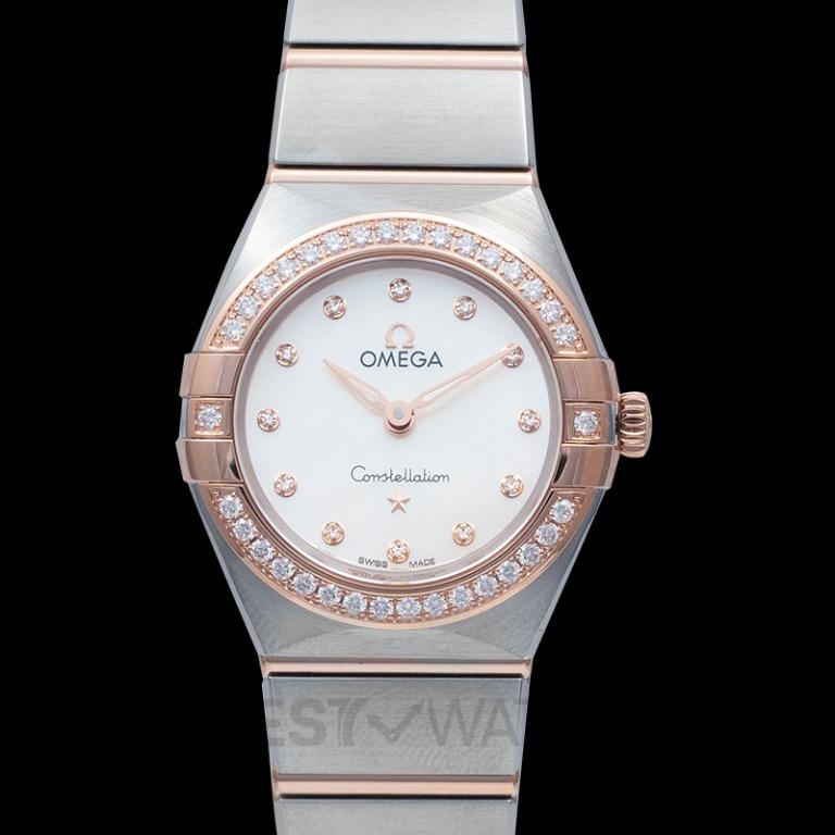 [NEW] Omega Constellation Manhattan Quartz 25mm Quartz White Dial Diamonds Gold Ladies Watch 131.25.25.60.55.001