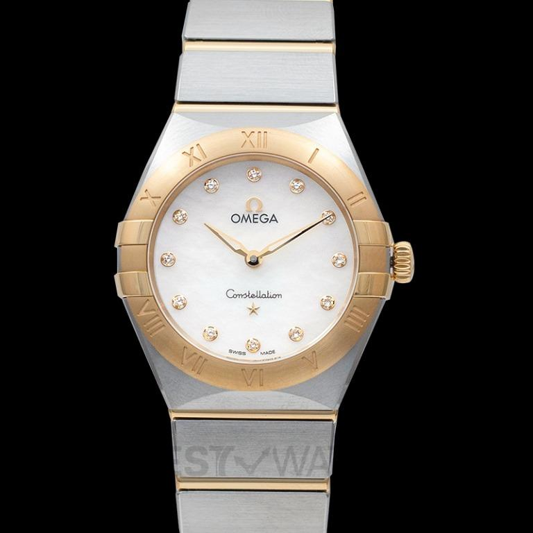 [NEW] Omega Constellation Manhattan Quartz 28mm Quartz White Dial Diamonds Yellow Gold Ladies Watch 131.20.28.60.55.002