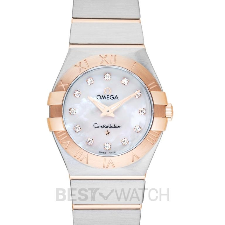 [NEW] Omega Constellation Quartz White Mother Of Pearl Dial Diamond Red Gold Ladies Watch 123.20.27.60.55.001
