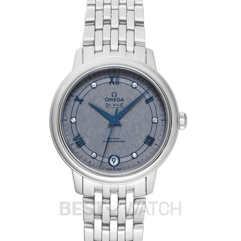 [NEW] Omega De Ville Prestige Co-Axial 32.7 mm Automatic Grey Dial Diamonds Ladies Watch 424.10.33.20.56.002