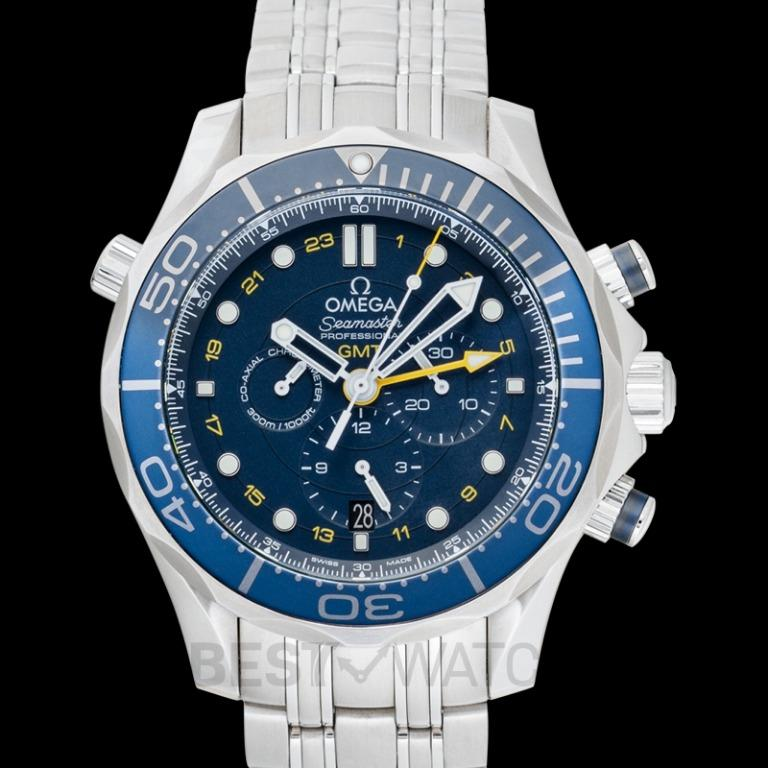 [NEW] Omega Seamaster Diver 300 M Co-Axial GMT Chronograph 44 mm Automatic Blue Dial Steel Men's Watch 212.30.44.52.03.001