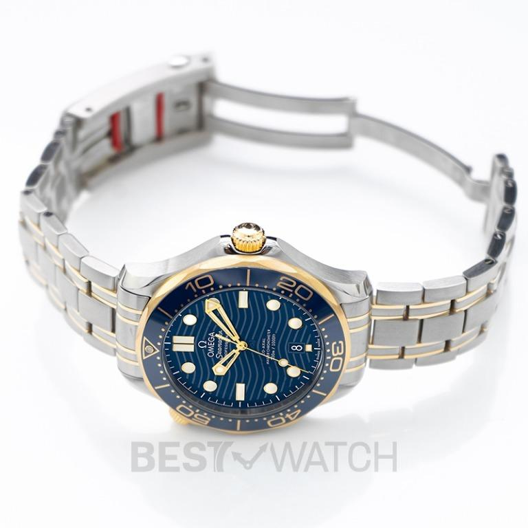 [NEW] Omega Seamaster Diver 300 M Co-Axial Master Chronometer 42mm Automatic Blue Dial Yellow Gold Men's Watch 210.20.42.20.03.001