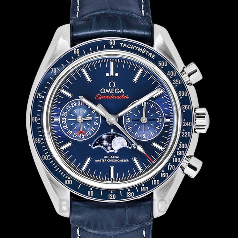 [NEW] Omega Speedmaster Moonwatch Co-Axial Master Chronometer Moonphase Chronograph 44.25mm Automatic Blue Dial Steel Men's Watch 304.33.44.52.03.001