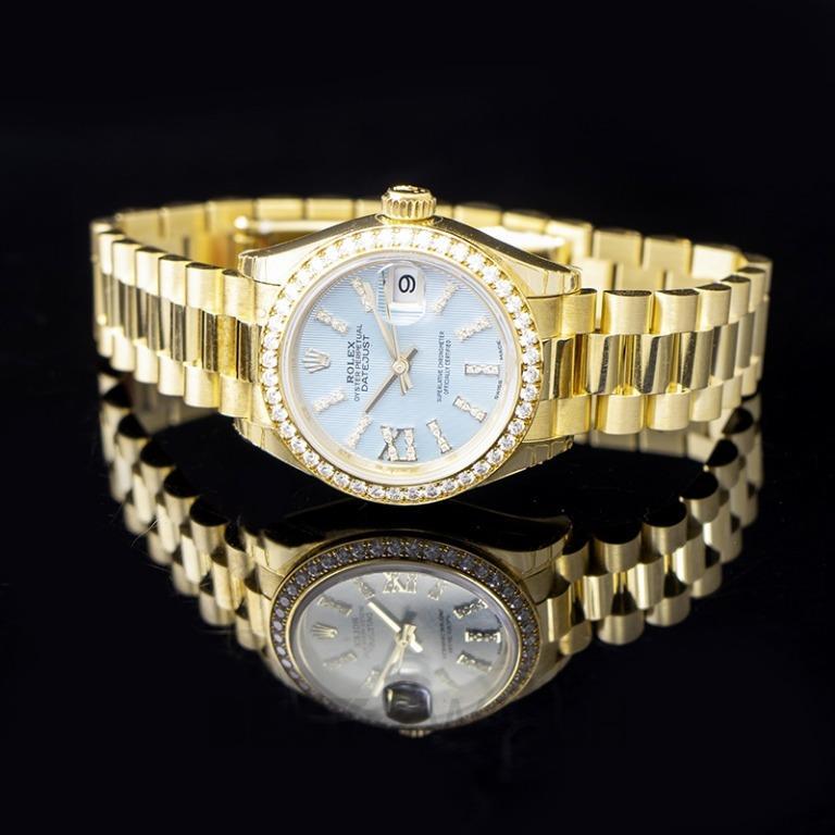 [NEW] Rolex Lady-Datejust 18ct Yellow Gold Automatic Cornflower Blue Diamond Dial Ladies Watch 279138RBR-0009