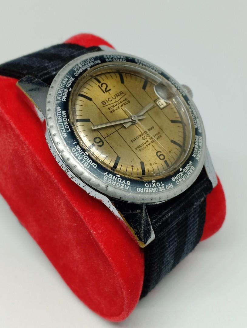 Rare sicura breatling diver 1970 no seiko tissot omega luminox tag heuer oris mido titoni rado baume zenith girard