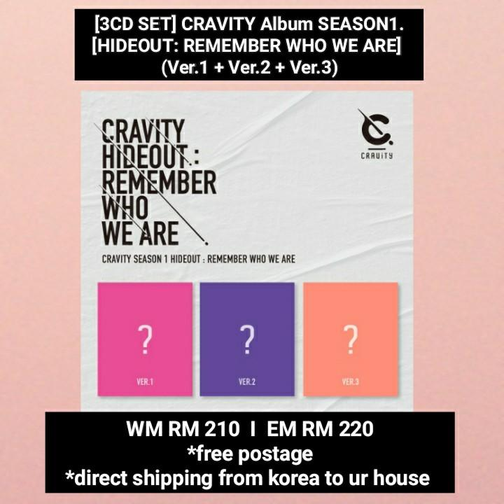 [SET] CRAVITY - SEASON1. [HIDEOUT: REMEMBER WHO WE ARE] (Ver.1 + Ver.2 + Ver.3)