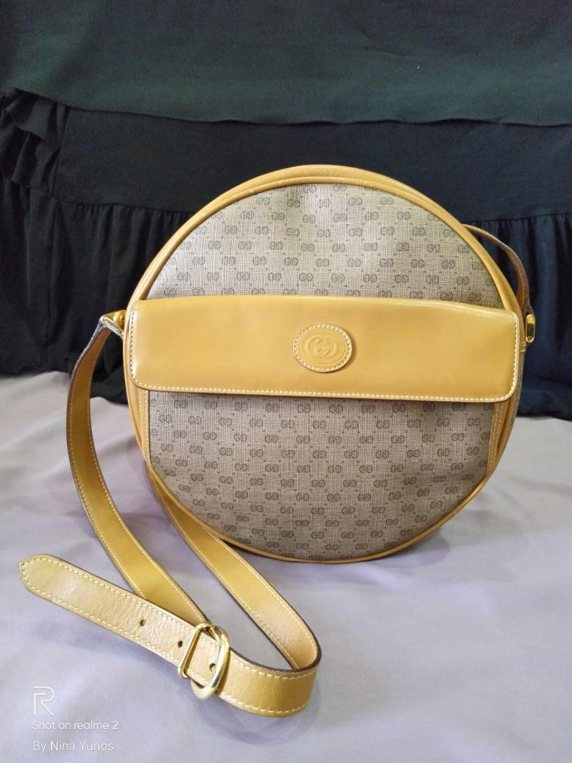 Vintage XL Gucci GG Monogram Brown Tan Leather Canteen Round Crossbody