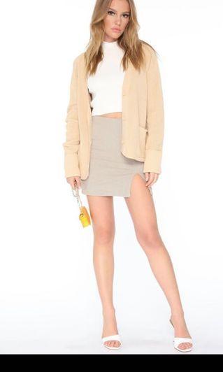 Fashion nova beige plaid skirt