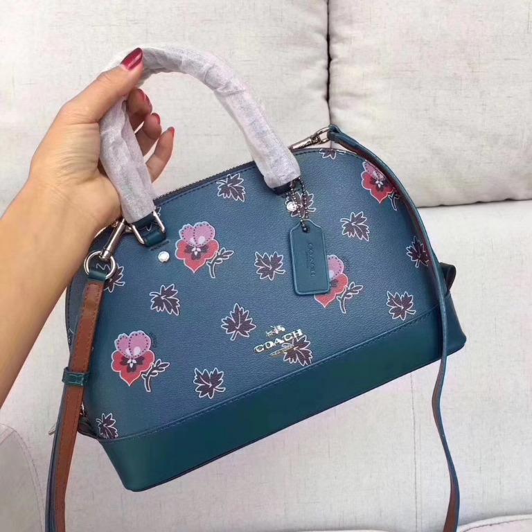 50% off! !! Limited time special COACH F13752 Gallop New Maple Leaf Colorful Flower Print Ladies Shoulder Messenger Bag Handbag Shell Bag Dual-use Bag