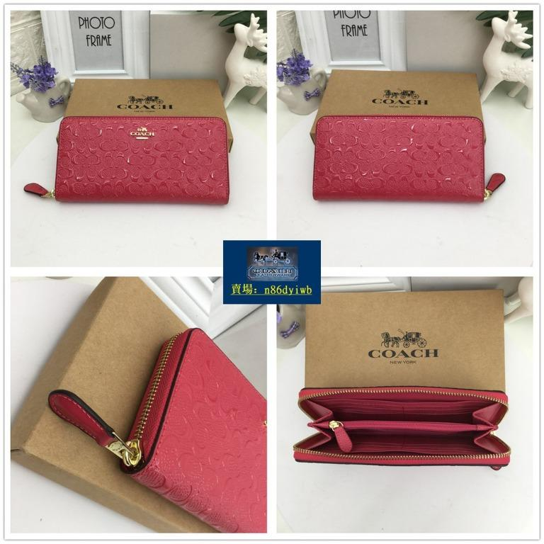 American genuine purchasing coach F54805 female growth clip classic patent embossed embossed long clip leather female wallet with purchase certificate