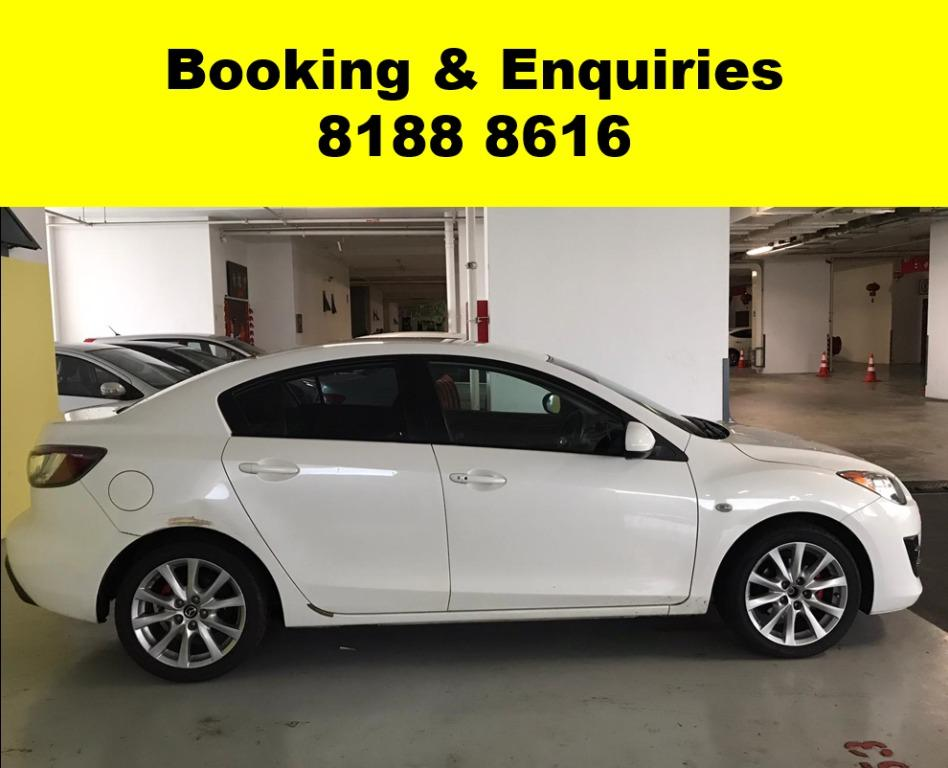 Mazda 3 HAPPY WEEKEND~ SOCIAL DISTANCING? Rent a car now to travel with a peace of mind! Cheapest rental in town with just $500 Deposit driveoff immediately.  Whatsapp 8188 8616 now to enjoy special rates!!