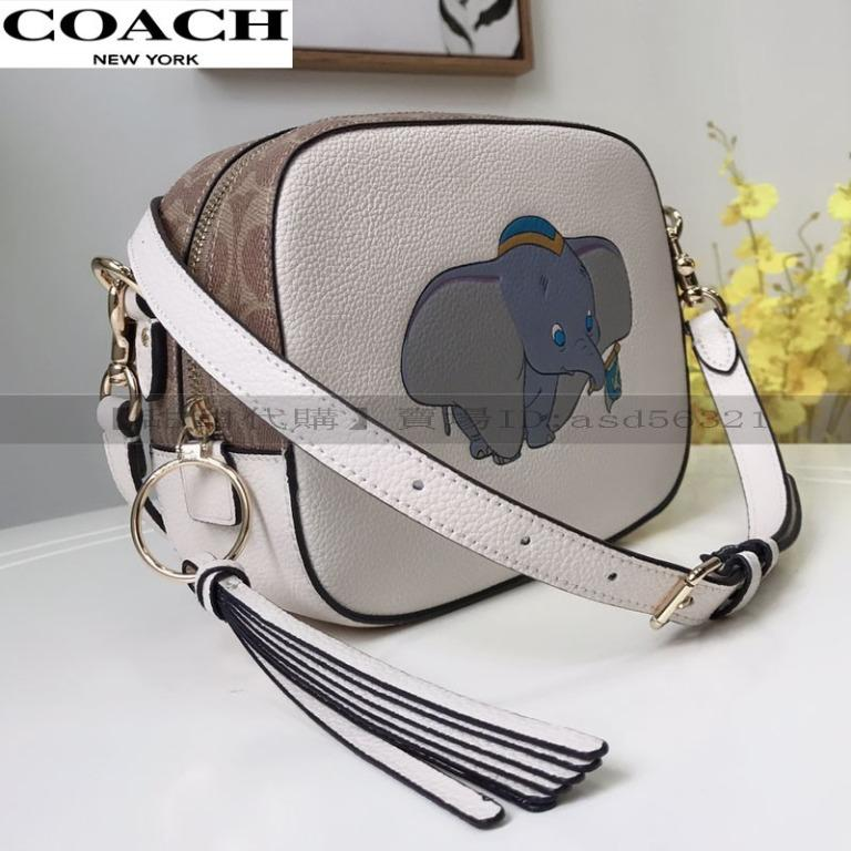 New COACH 69252 Litchi pattern leather stitching Dalmatian / Dumbo / Sangpu Disney Disney cooperation women's bag camera bag Messenger bag shoulder bag cosmetic bag