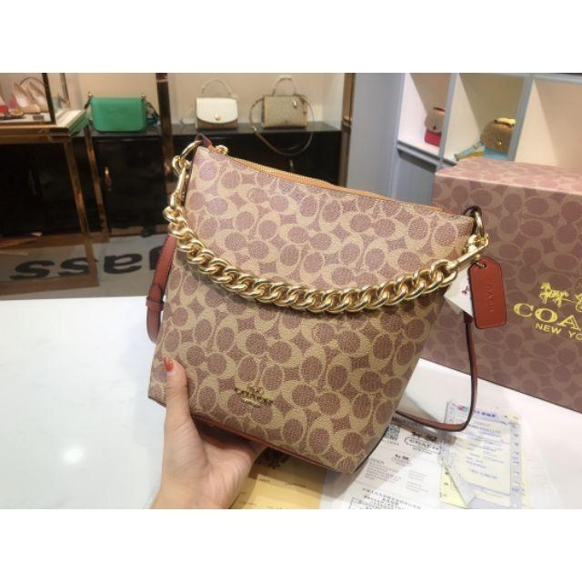 Purchasing  Chi women's bag coach 2019 autumn and winter bucket bag new chain shoulder shoulder crossbody stray bag presbyopia fabric ps13072