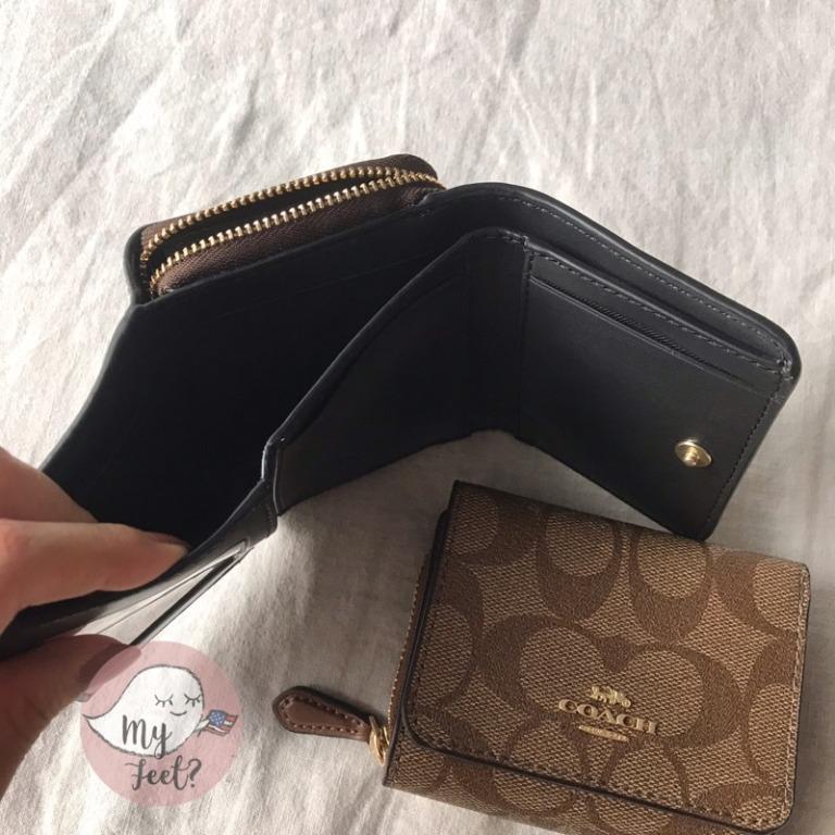 ??Spot ???? Coach Tri-fold Short Clip Women Short Clip Coin Bag Genuine American Purchase Floral Purse Wallet Buckle Wallet Leather Short Clip