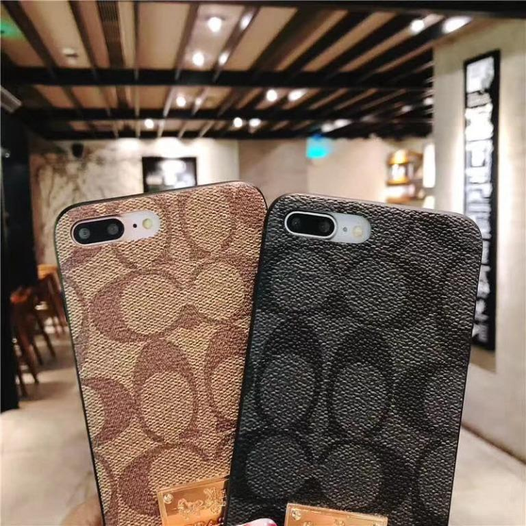 Spot ultra-popular fashion leather luxury metal European and American big-name iPhoneX / 6sp Apple i7 / i8 couple mobile phone case all-inclusive mobile phone hard case classic simple slightly galloping trend