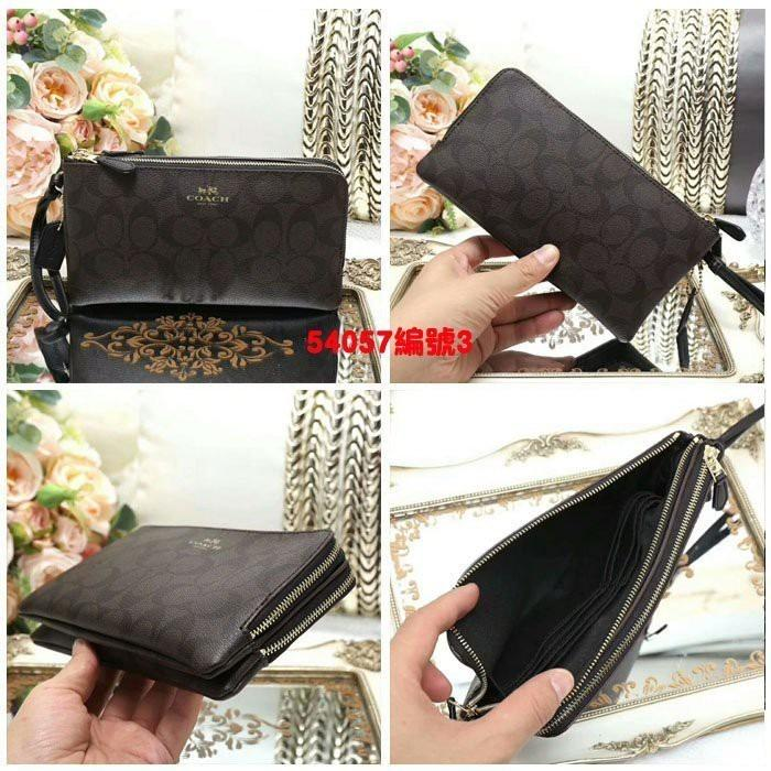 ??Taiwan spot?? Same day shipping COACH 54057 Hot sale double clutch bag coin purse double compartment large capacity