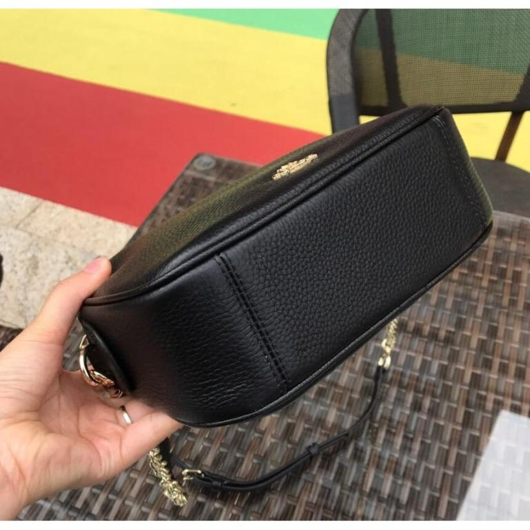 US purchasing European and American hot-selling models COACH 25922 black lychee pattern leather leather cross-body bag camera bag side backpack full leather chain clutch with purchase certificate