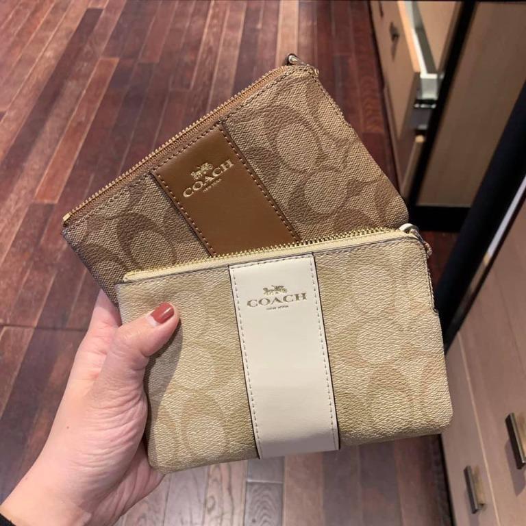 ??U.S. ShoppingACH COACH 58035 Small Clutch New PVC Fight Leather Clutch Coin Purse Multi-Card Wallet Wallet Zipper Wrist Bag