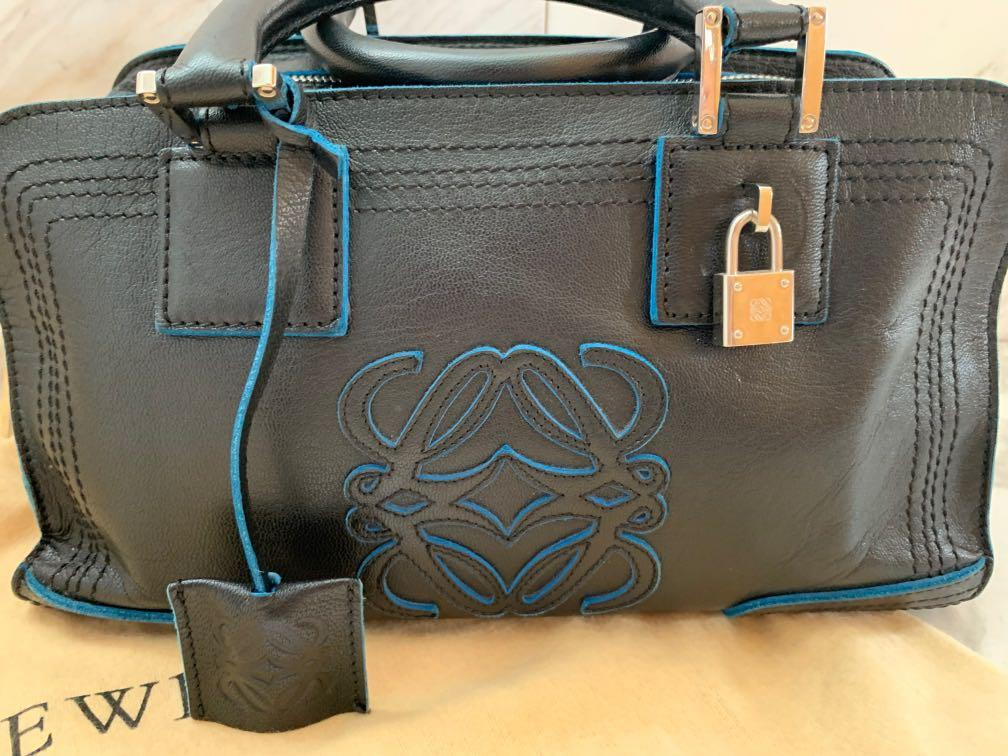 100% Authentic Original Loewe Limited Edition Amazona Goat Skin Leather Handbag Black with Bleu de France trimmings